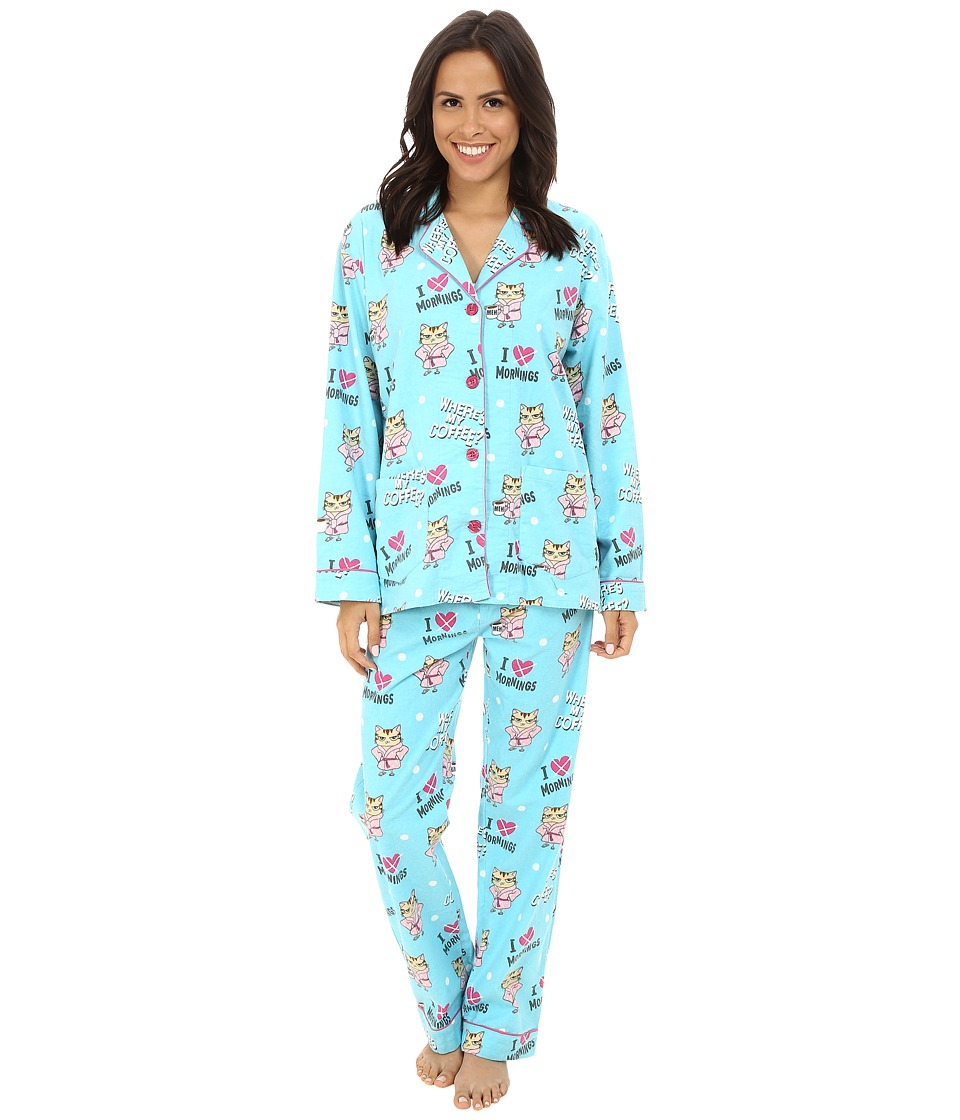 P.J. Salvage - Cat Print PJ Set (Aqua) Women's Pajama Sets