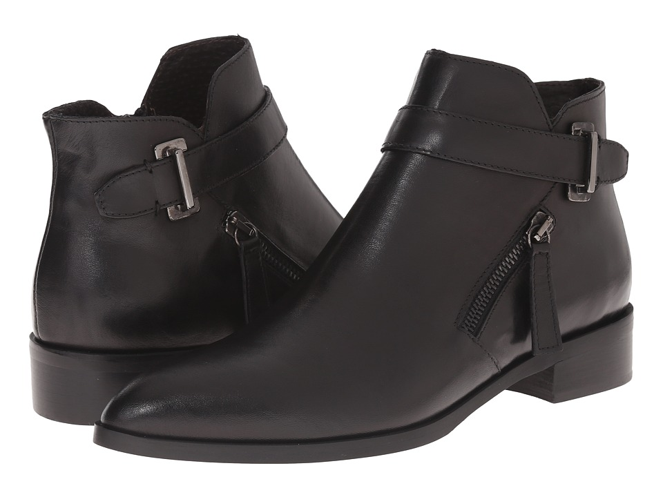 Massimo Matteo - Side Zip Boot with Strap (Black) Women's Zip Boots