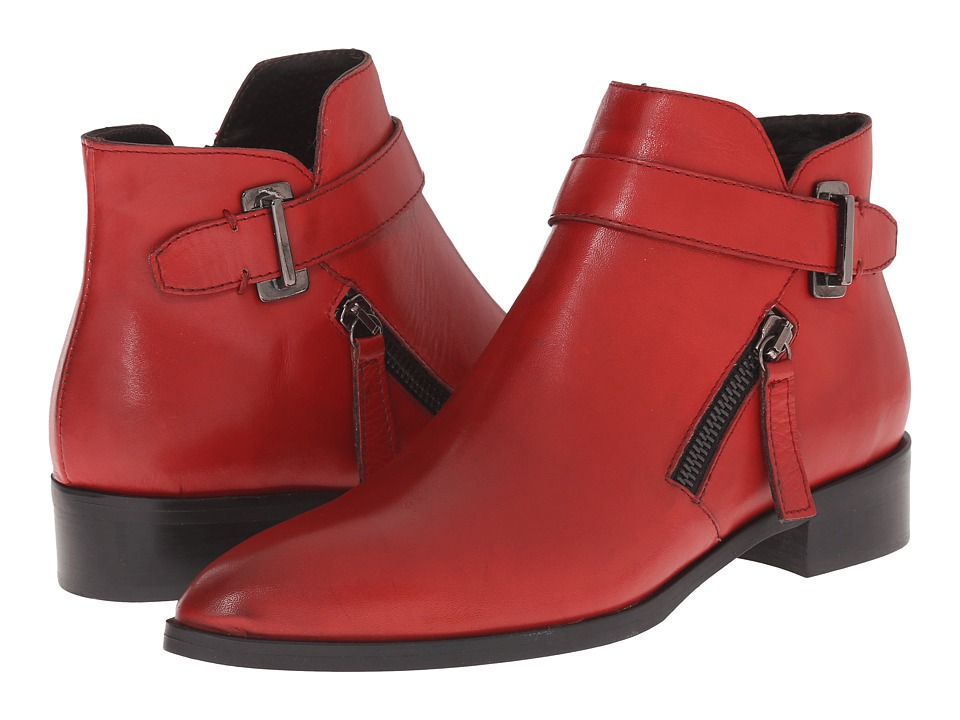 Massimo Matteo - Side Zip Boot with Strap (Red) Women's Zip Boots