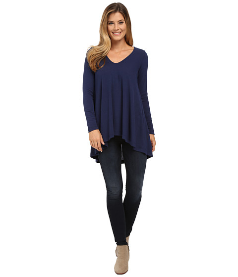 Nally & Millie - Rounded V-Neck Tunic with Shirred Back (Navy) Women's T Shirt
