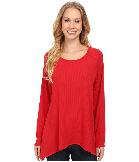 Nally & Millie - Raglan Sleeve Ribbed Top (Red) Women's T Shirt