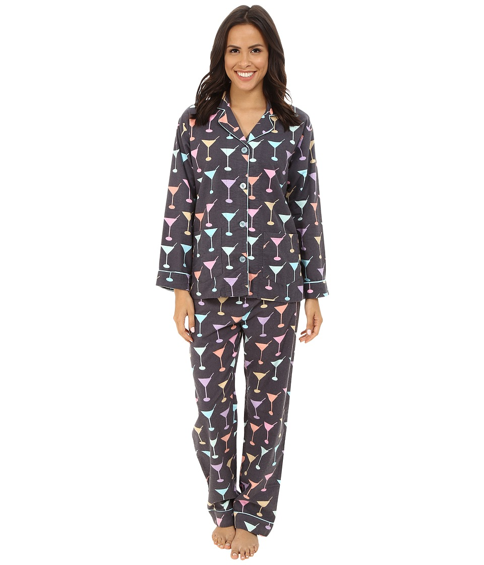 P.J. Salvage - Martini Flannel Sleep PJ Set (Grey) Women's Pajama Sets