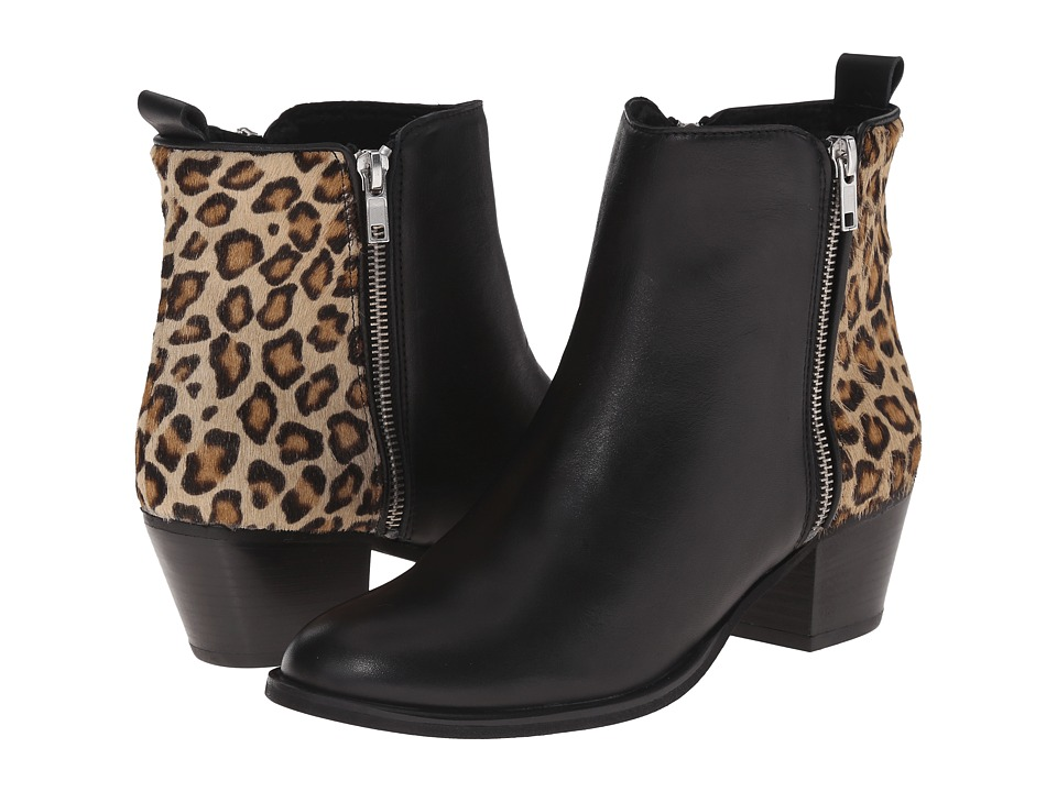 Massimo Matteo - Side Zip Cheetah Boot (Black/Cheetah) Women's Zip Boots