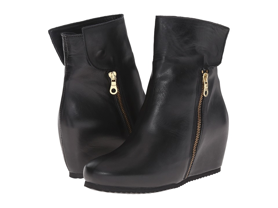 Massimo Matteo - Side Zip Wedge Boot (Black) Women's Zip Boots