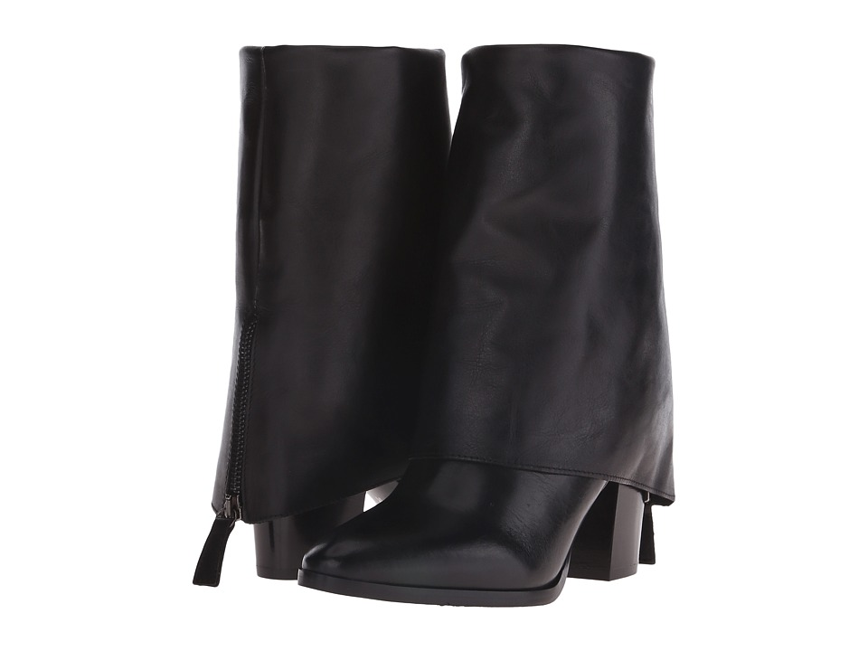 Massimo Matteo - Heel Boot Fold Over (Black) Women's Pull-on Boots