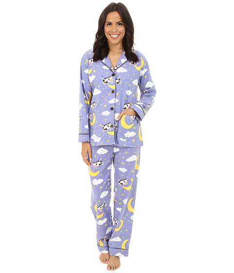 P.J. Salvage - Cow Flannel Sleep PJ Set (Periwinkle) Women
