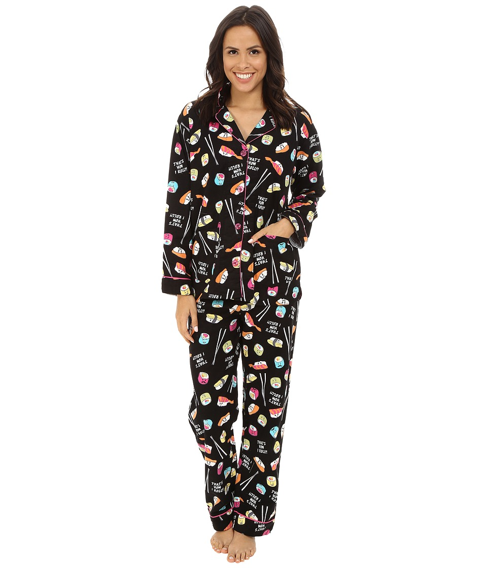 P.J. Salvage - Sushi Flannel Sleep PJ Set (Black) Women's Pajama Sets