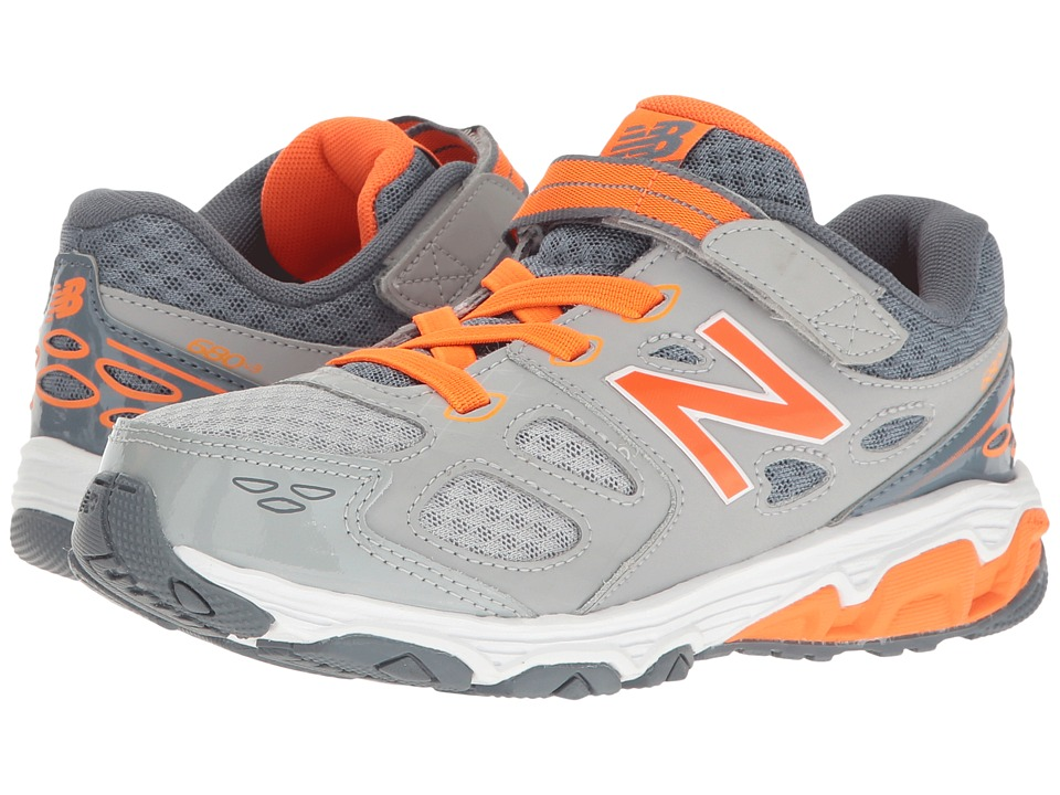 New Balance Kids - KA680 (Little Kid/Big Kid) (Grey/Orange) Boys Shoes