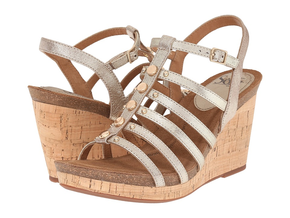 Sofft - Cassie (Satin Gold Grid Metallic) Women's Wedge Shoes