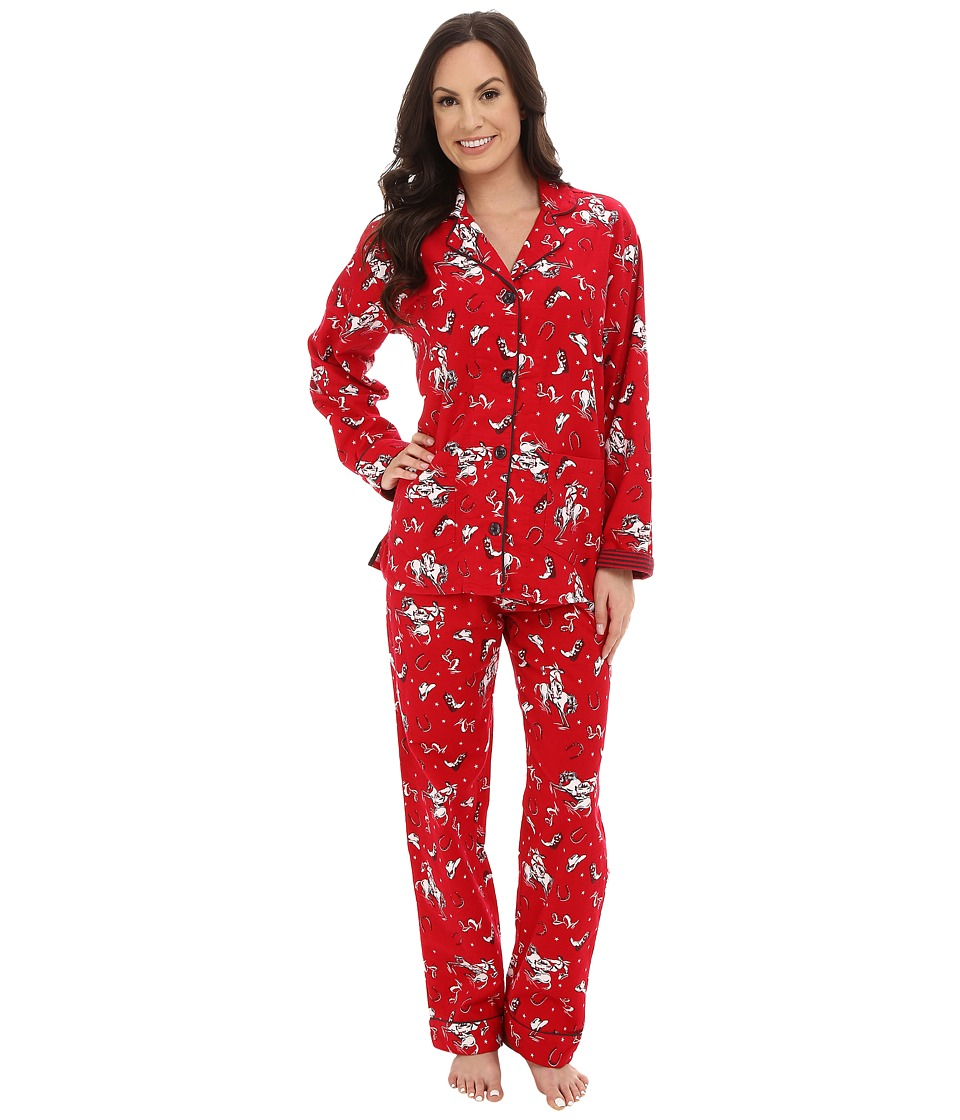 P.J. Salvage - Western Flannel Sleep PJ Set (Red) Women's Pajama Sets