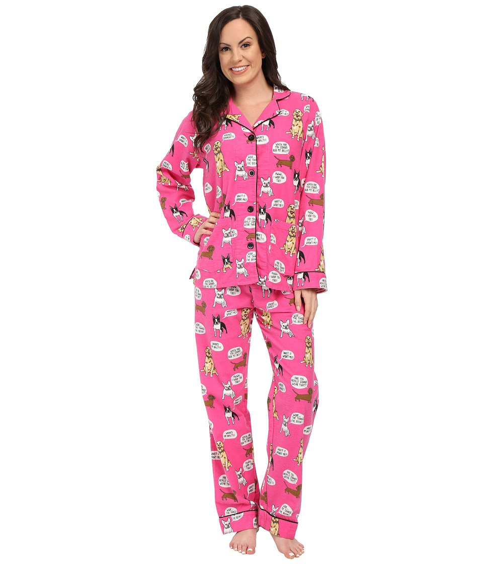P.J. Salvage - Dog Flannel Sleep PJ Set (Hot Pink) Women