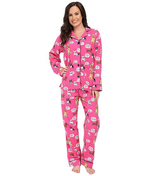 P.J. Salvage - Dog Flannel Sleep PJ Set (Hot Pink) Women's Pajama Sets