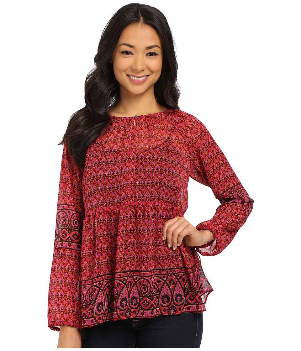 TWO by Vince Camuto - Festive Foulard Y-Neck Peasant Blouse (Pop Pink) Women's Blouse