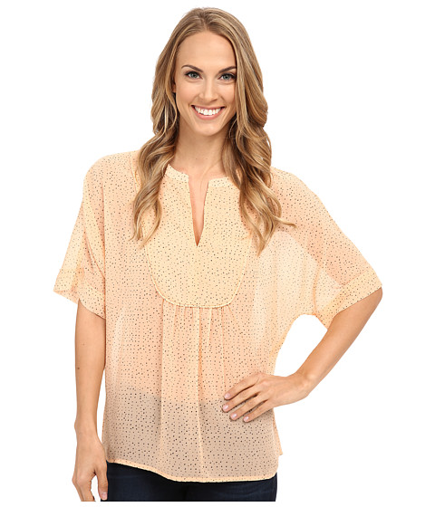 TWO by Vince Camuto - Dreamy Touches Y-Neck Swing Blouse (Dusty Peach) Women