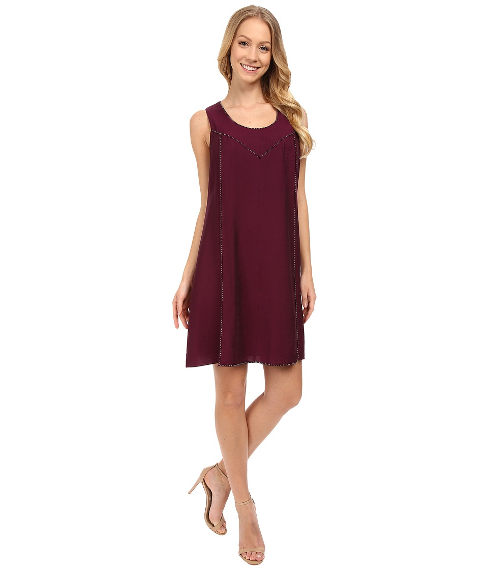 TWO by Vince Camuto - Flowy Rumple Embellished Swing Dress (Perfect Plum) Women's Dress
