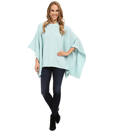 TWO by Vince Camuto - Hooded Waffle Stitch Poncho (Chalk Blue) Women's Clothing
