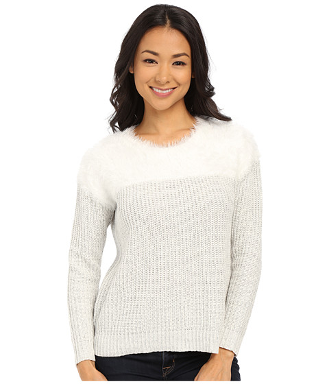 TWO by Vince Camuto - Long Sleeve Marled Eylelash Yoke Pullover (New Ivory) Women's Sweater