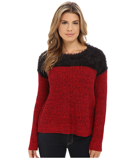 TWO by Vince Camuto - Long Sleeve Marled Eylelash Yoke Pullover (Crimson) Women's Sweater