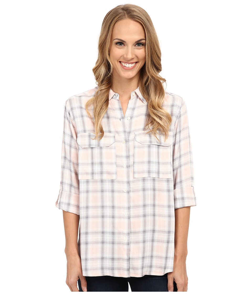 TWO by Vince Camuto - Long Sleeve Checked Twill Oversized Utility Shirt (Pearl Glow) Women's Long Sleeve Button Up