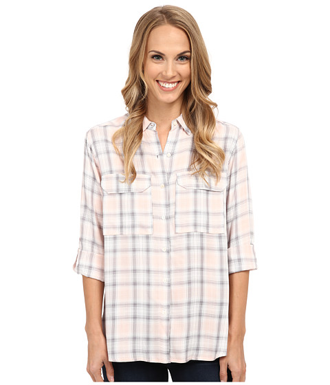 TWO by Vince Camuto - Long Sleeve Checked Twill Oversized Utility Shirt (Pearl Glow) Women