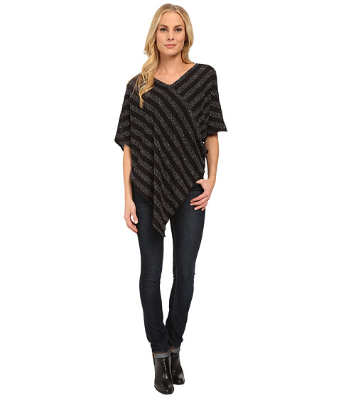 TWO by Vince Camuto - Neps Stripe Sweater-Like Knit Poncho (Rich Black) Women's Sweater