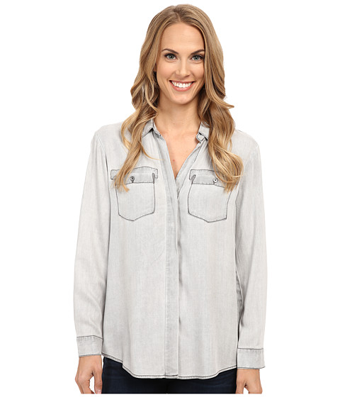 TWO by Vince Camuto - Long Sleeve Pastel Fade Boxy Utility Shirt (Mountain) Women's Clothing
