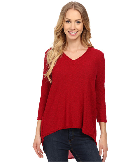 TWO by Vince Camuto - Long Sleeve Split Back Chiffon Shirttail Tunic (Crimson) Women's Blouse
