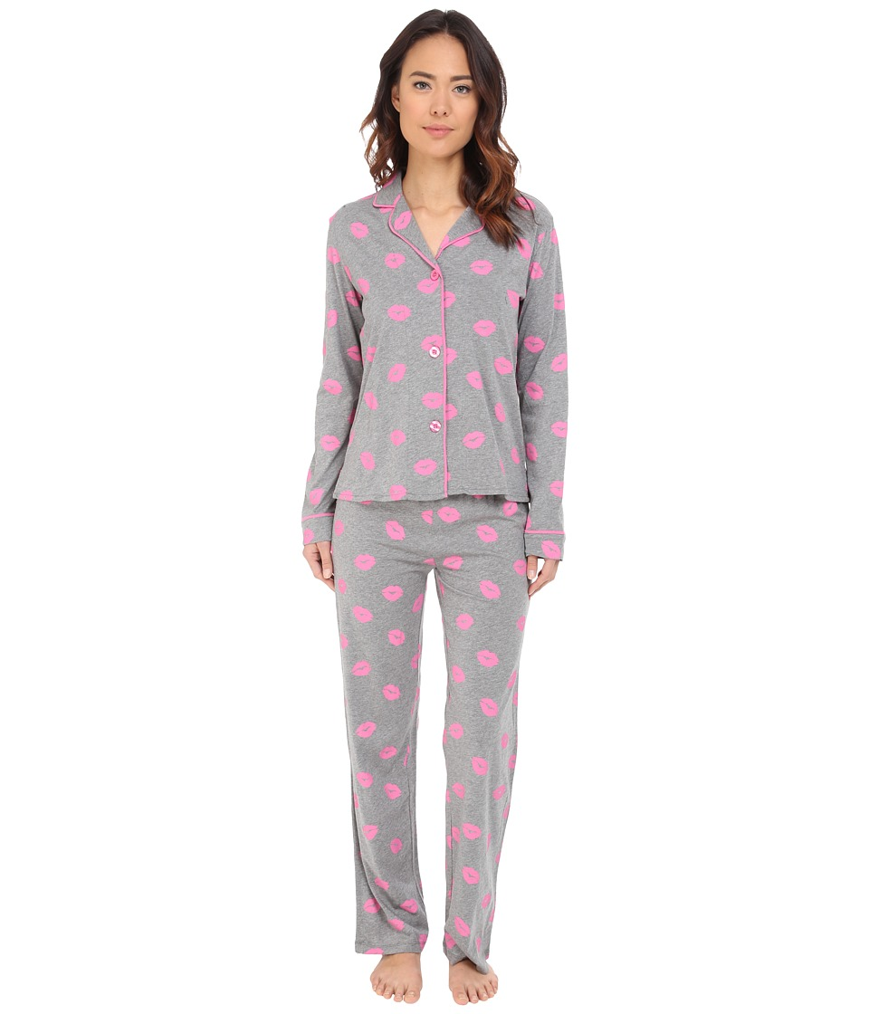 P.J. Salvage - Giftables Lips Pajama Set (Heather Grey) Women's Pajama Sets