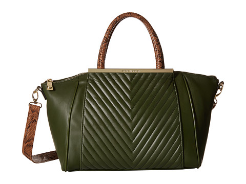 Steve Madden - Bkimmy w/ Snake Handles and Vbody Strap (Green/Taupe) Satchel Handbags