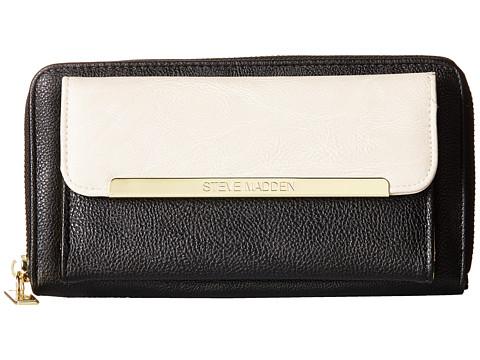 Steve Madden - Front Pocket Logobar Zip Around Wallet (Black/Matte Black Snake) Wallet Handbags
