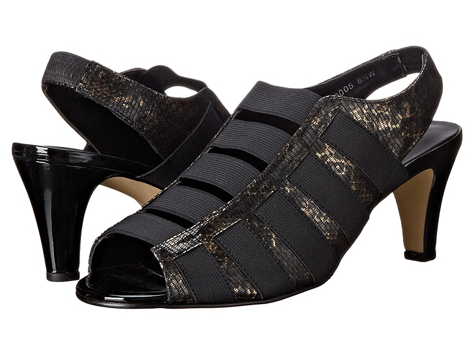 Rose Petals - Charli (Black Bronze Lizard) Women's Toe Open Shoes