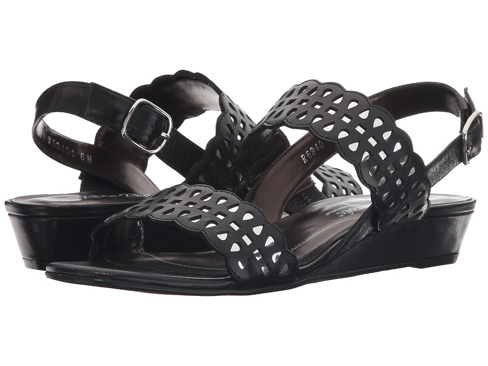 Rose Petals - Jolie (Black Kid Suede/Silver Metallic) Women's Sandals