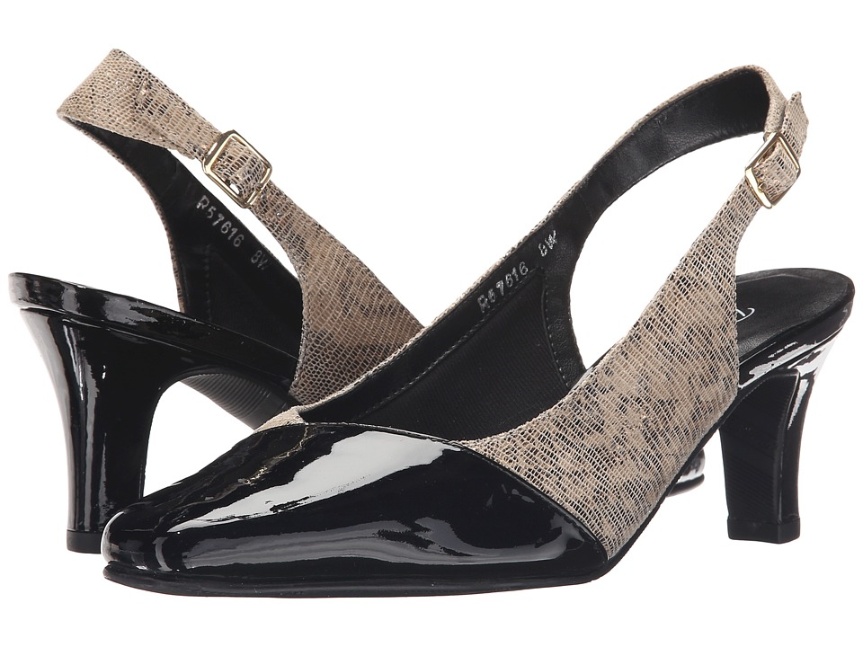 Rose Petals - Ramona (Taupe/Gold Lizard Print) Women's Shoes