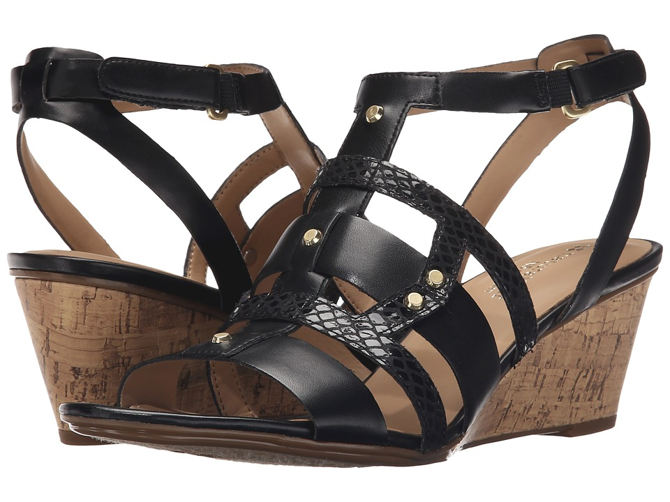 Naturalizer - Hania (Black Smooth/Printed Snake) Women's Wedge Shoes