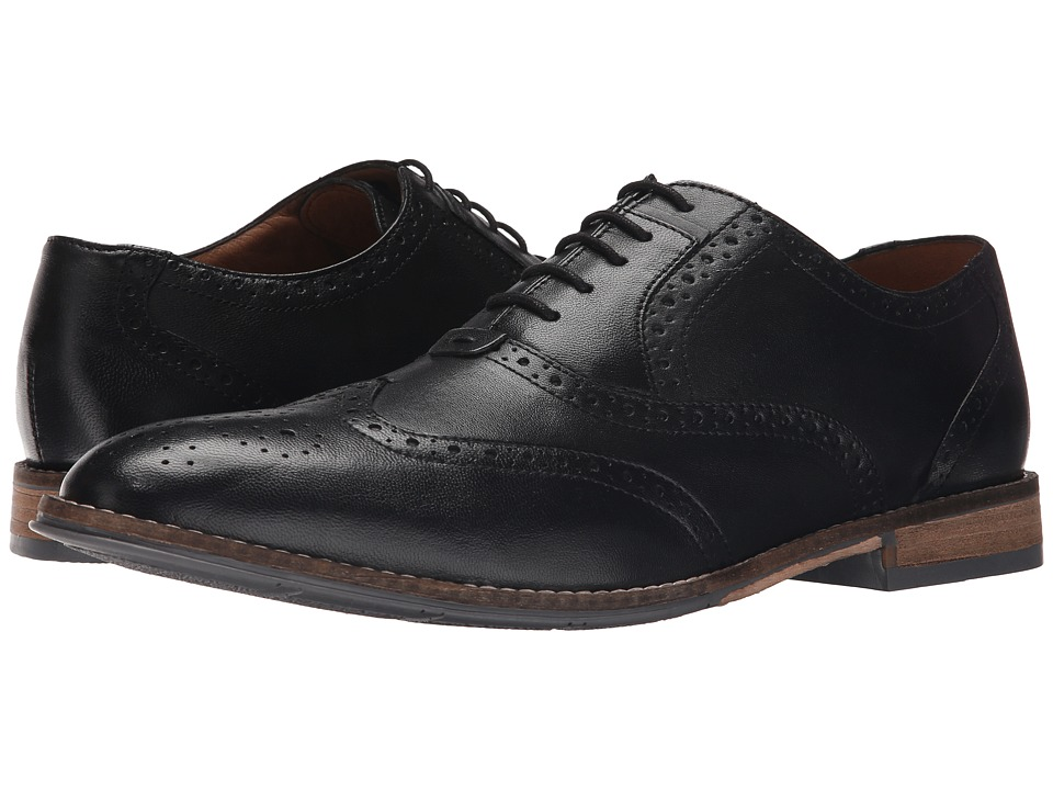 Hush Puppies - Style Brogue (Black Smooth Leather) Men's Lace Up Wing Tip Shoes