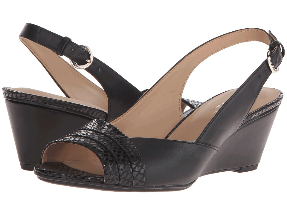 Naturalizer - Henny (Black Smooth/Printed Snake) Women