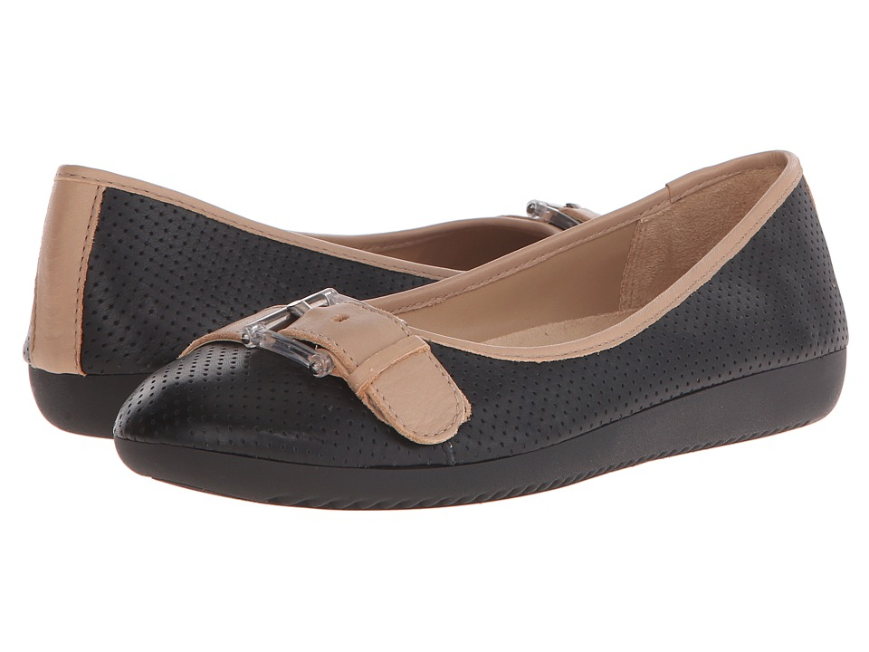 Naturalizer - Kiara (Black/Ginger Snap Leather) Women's Flat Shoes