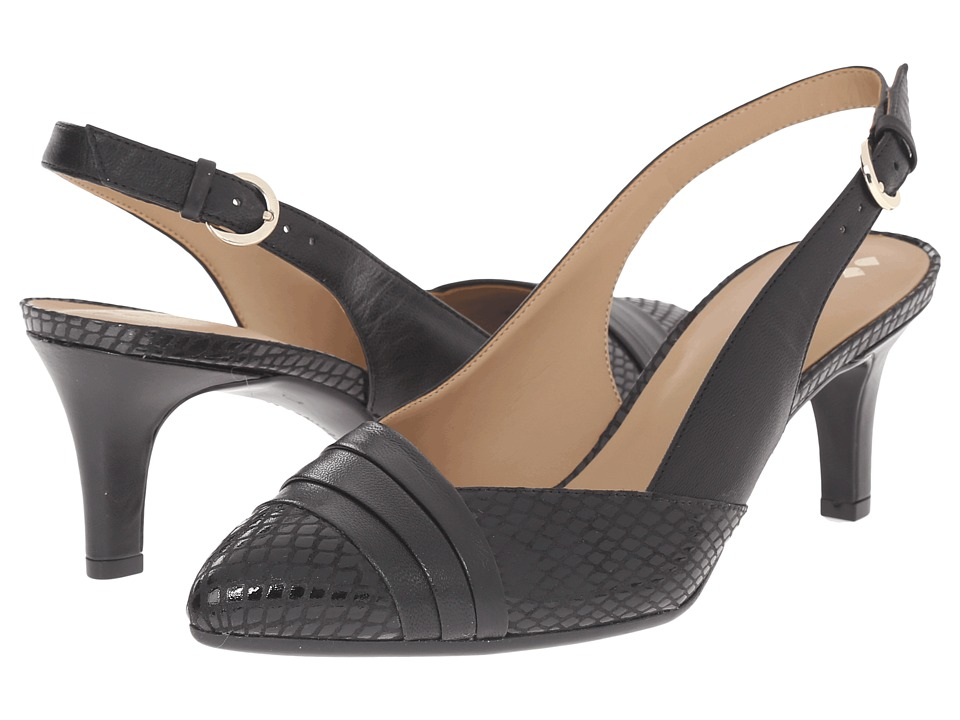 Naturalizer - Odellia (Black Leather/Glossy Printed Snake) High Heels