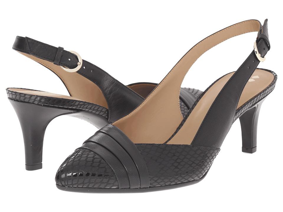 Naturalizer - Odellia (Black Leather/Glossy Printed Snake) High Heels