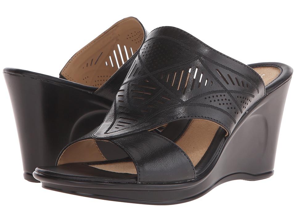 Naturalizer - Oshea (Black Leather) Women's Wedge Shoes