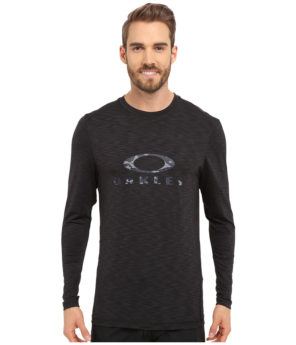 Oakley - Long Sleeve Melange Rashguard (Jet Black) Men's Swimwear