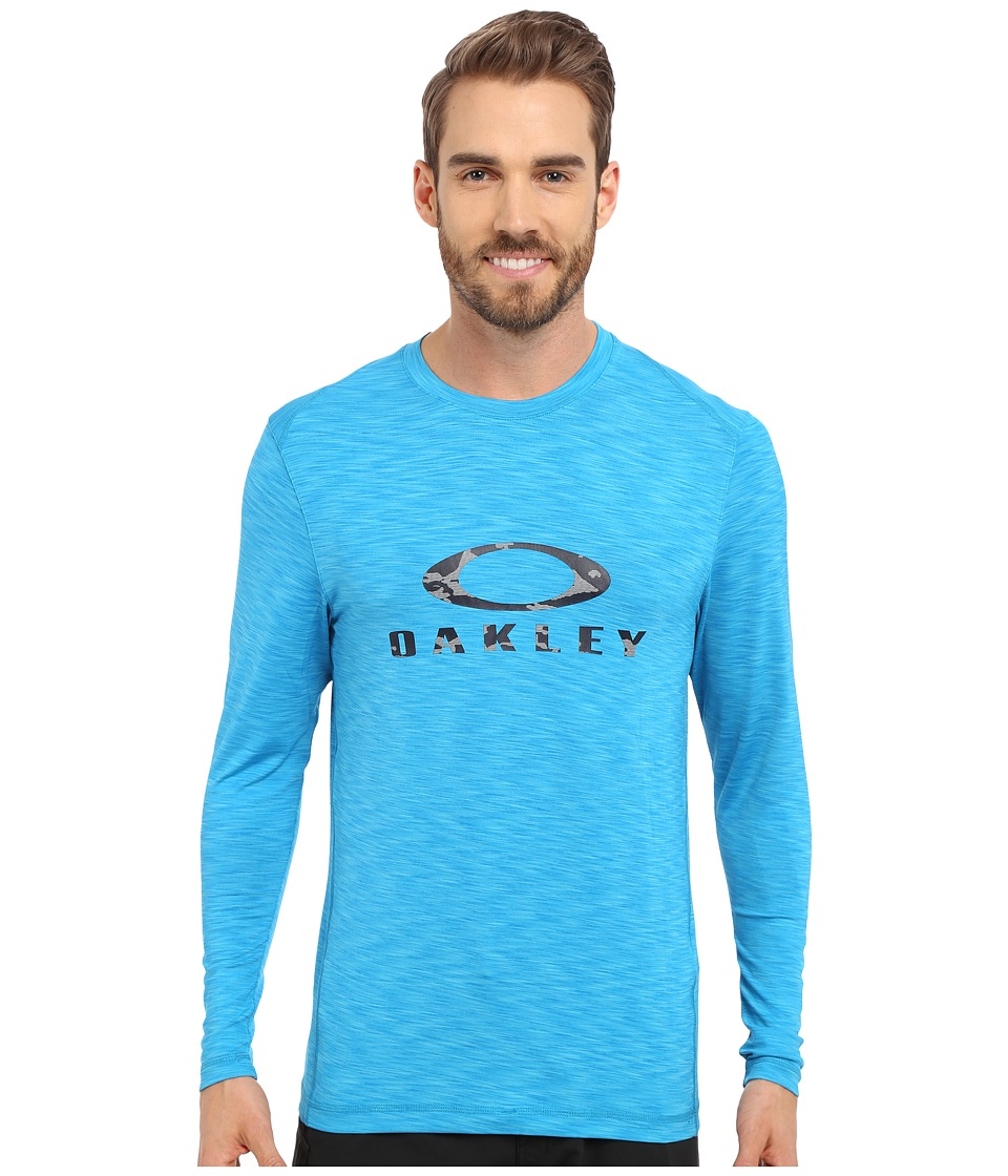 Oakley - Long Sleeve Melange Rashguard (Pacific Blue) Men's Swimwear