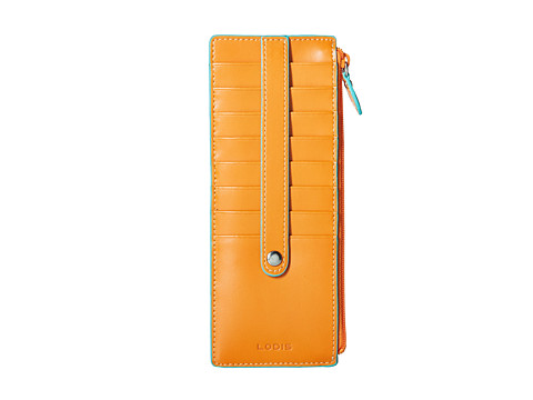 Lodis Accessories - Credit Card Case w/ Zipper Pocket (Orange) Wallet
