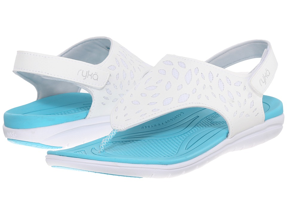 Ryka Scamper (White/Winter Blue/Chrome Silver) Women