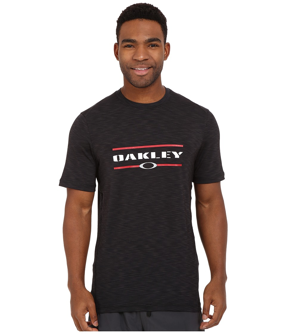 Oakley - Melange Short Sleeve Rashguard (Jet Black) Men's Swimwear