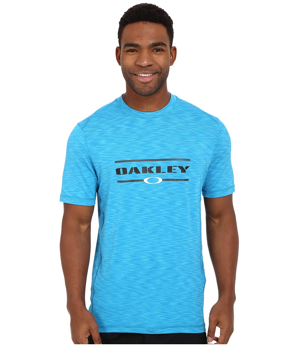 Oakley - Melange Short Sleeve Rashguard (Pacific Blue) Men's Swimwear
