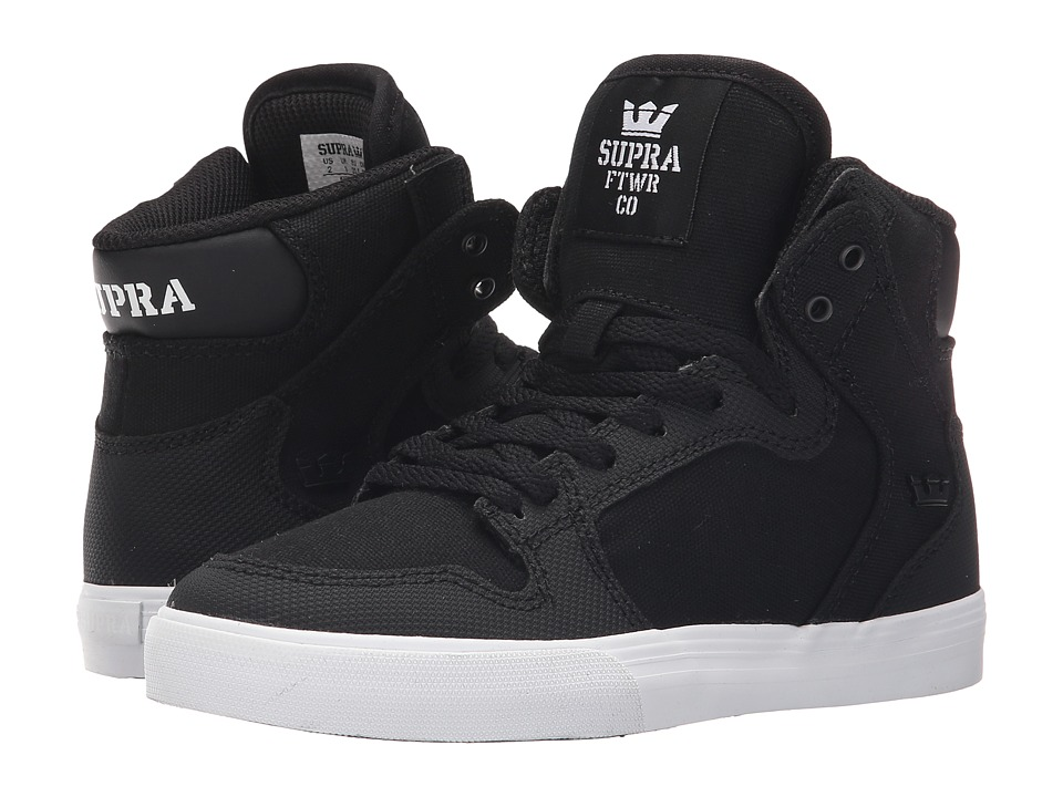Supra Kids - Vaider (Little Kid/Big Kid) (Black/White) Kids Shoes