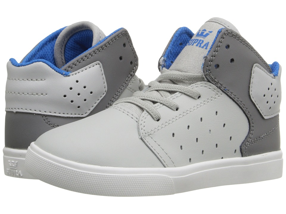 Supra Kids - Atom (Toddler) (Light Grey/Charcoal/White) Boy's Shoes