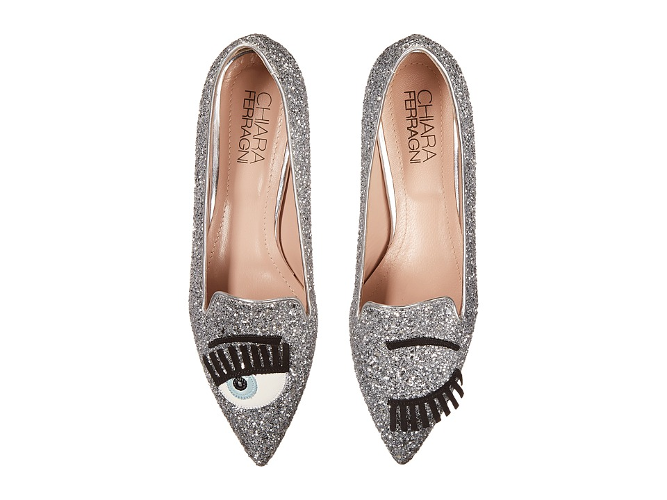 Chiara Ferragni - Glitter Flirting Pointed Toe Flat (Silver) Women's Shoes