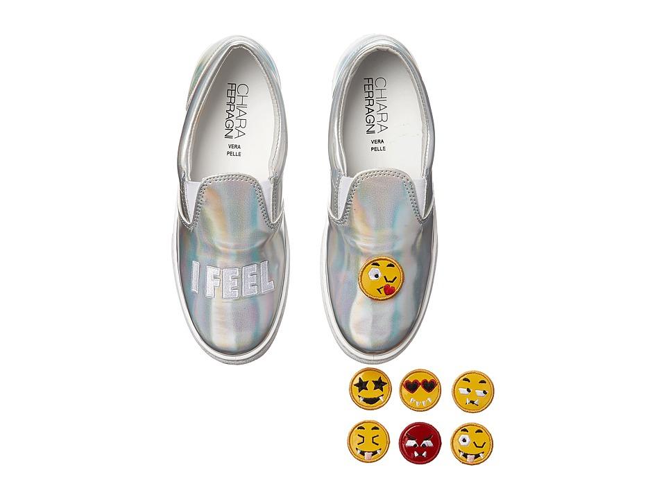 Chiara Ferragni - Metallic Emoji Slip-On Sneaker (Silver) Women